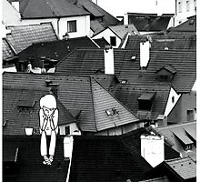 Little sad boy on the roof by polinart