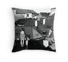 Little sad boy on the roof Throw Pillow