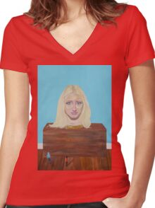 "Museum of strange things No1 ""Study of a blonde girl"" Women's Fitted V-Neck T-Shirt"