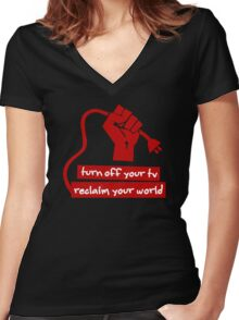 Turn Off Your TV (Red) Women's Fitted V-Neck T-Shirt