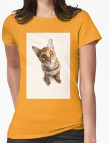 Bengal cat with big eyes Womens Fitted T-Shirt