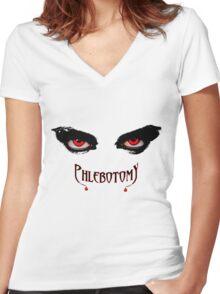 Phlebotomists Vampire Shirt Women's Fitted V-Neck T-Shirt