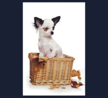 Chihuahua puppy in a basket Kids Tee