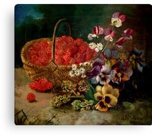 Berry Basket And Flowers Canvas Print