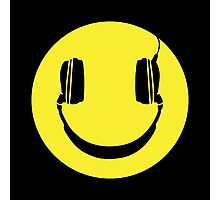 SMILEY FACE MUSIC LOVER HEADPHONES Photographic Print