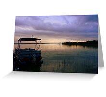 Pontoon Boat Sunrise Greeting Card