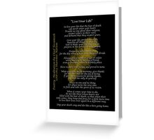 """""""Live Your Life""""  Golden feather by Chief Tecumseh Greeting Card"""