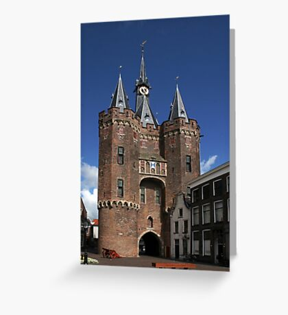 The impressive city gate Sassenpoort Greeting Card