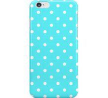 Aqua And White Polka Dots iPhone Case/Skin