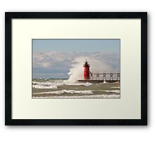 Lighthouse, South Haven, Michigan-4 Framed Print