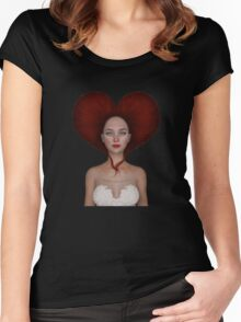 Queen of hearts portrait Women's Fitted Scoop T-Shirt