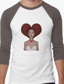 Queen of hearts portrait Men's Baseball ¾ T-Shirt