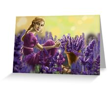 girl and the lavender field Greeting Card