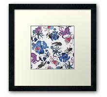 Octopus in blue ink Framed Print