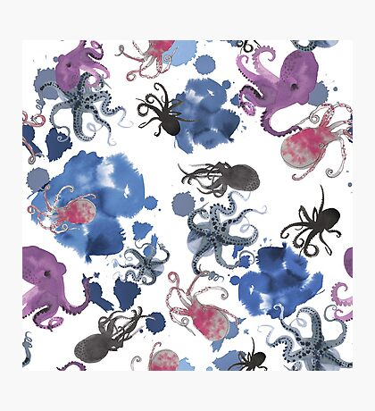 Octopus in blue ink Photographic Print