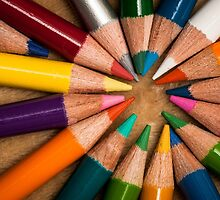 Colorful wooden pencils  by Nelson Charette
