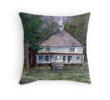 Backwoods Cottage - Watercolor Impressionistic Landscape Throw Pillow