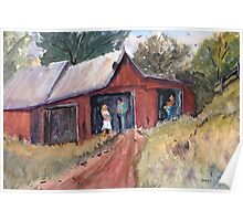 Hillside Talk - Rural Barn - Landscape Poster