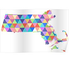 Massachusetts Colorful Hipster Geometric Triangles Boston Poster