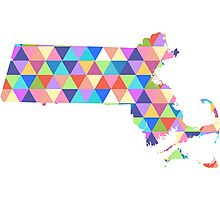 Massachusetts Colorful Hipster Geometric Triangles Boston Photographic Print