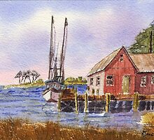 Coastal Dock - Impressionistic Watercolor Painting by Barry  Jones