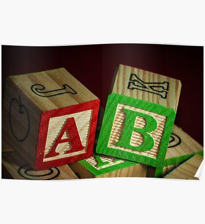 Wooden Alphabet Blocks  Poster