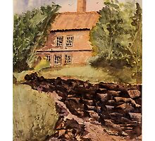Behind The House - Impressionistic Watercolor Painting by Barry  Jones