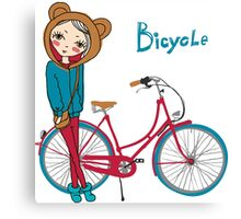 girl with bicycle Canvas Print