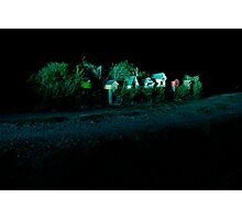 mailboxes at night Photographic Print