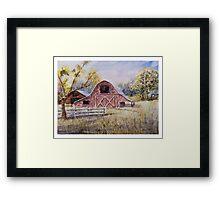 Whiteville Barns - Impressionistic Rural Watercolor Landscape Framed Print