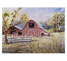 Whiteville Barns - Impressionistic Rural Watercolor Landscape Photographic Print