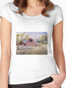 Whiteville Barns - Impressionistic Rural Watercolor Landscape Women's Fitted Scoop T-Shirt