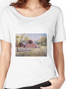 Whiteville Barns - Impressionistic Rural Watercolor Landscape Women's Relaxed Fit T-Shirt