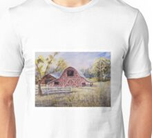 Whiteville Barns - Impressionistic Rural Watercolor Landscape Unisex T-Shirt