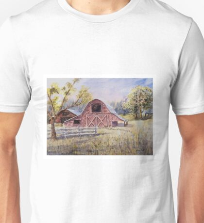 Whiteville Barns - Impressionistic Rural Watercolor Landscape Unisex T-Shirt