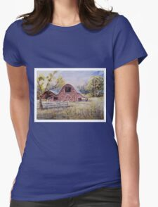 Whiteville Barns - Impressionistic Rural Watercolor Landscape Womens Fitted T-Shirt