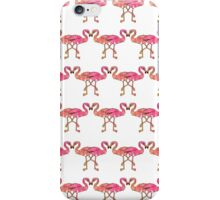 Cute Pink Watercolor Flamingos on White iPhone Case/Skin