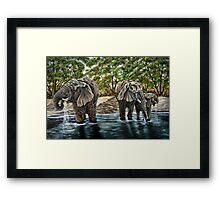 """""""Thirsty Elephants"""" - Oil Painting Framed Print"""