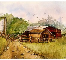 Down the Road - Impressionistic Rural Landscape Watercolor by Barry  Jones