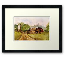 Down the Road - Impressionistic Rural Landscape Watercolor Framed Print