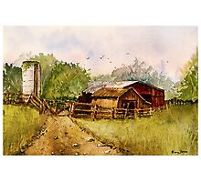 Down the Road - Impressionistic Rural Landscape Watercolor Photographic Print