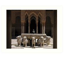 Palace fountain within the Alhambra, Granada, Spain Art Print