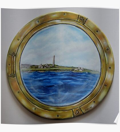 """""""Sailing past Scattery Island, Ireland"""" - oil painting Poster"""