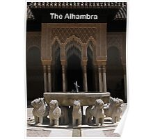 Lion statue fountain, Alhambra, Granada, Spain Poster