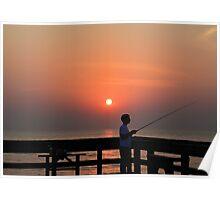 Fishing At Dawn Poster
