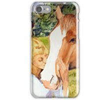 Her Friend - Impressionistic Equine & Figure Watercolor Painting iPhone Case/Skin