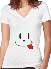 Happy Face Women's Fitted V-Neck T-Shirt
