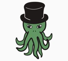 Little Cthulhu in a Top Hat (green) Kids Clothes