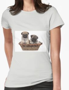 two cute pug puppy Womens Fitted T-Shirt