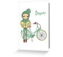 girl with bicycle Greeting Card